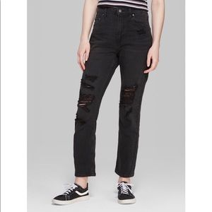 Mossimo Black Jeans Ripped High Rise Mom Jeans